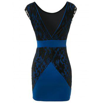 Charming Jewel Neck Lace Splicing Backless Short Sleeve Dress For Women - BLUE L