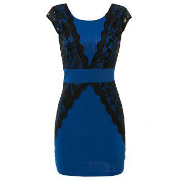 Charming Jewel Neck Lace Splicing Backless Short Sleeve Dress For Women - BLUE XL