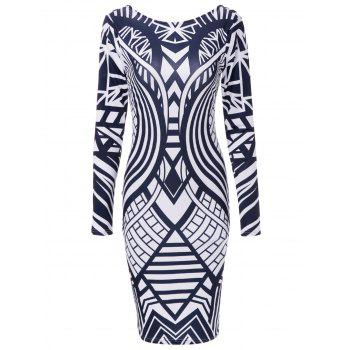 Long Sleeve Geometric Bodycon Dress - DEEP BLUE M
