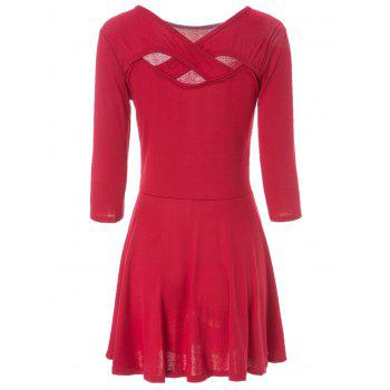 Simple V-Neck 3/4 Sleeve Solid Color Criss-Cross Hollow Out Women's Dress