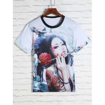 Flower and Beauty Print Round Neck Short Sleeves Men's 3D T-Shirt