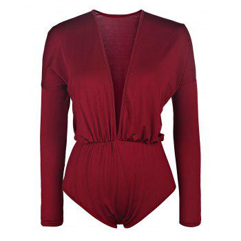 Casaul Long Sleeve Plunging Collar Solid Color Women's Romper - WINE RED M