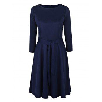 Vintage Long Sleeve Round Neck Pure Color Women's Midi Dress