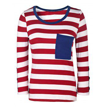 Casual Style 3/4 Sleeve Scoop Neck Buttoned Striped Women's T-Shirt - RED WITH WHITE M