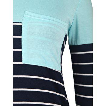 Casual Style 3/4 Sleeve Scoop Neck Stripe Splicing Women's T-Shirt - S S