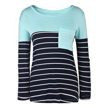Casual Style 3/4 Sleeve Scoop Neck Stripe Splicing Women's T-Shirt - BLUE AND WHITE S