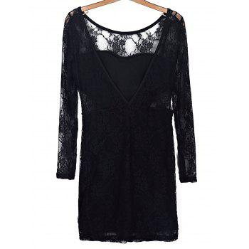 Trendy Black Hollow Out Long Sleeve Backless Bodycon Lace Dress For Women - BLACK BLACK