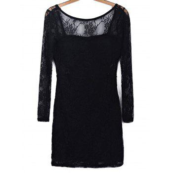 Trendy Black Hollow Out Long Sleeve Backless Bodycon Lace Dress For Women - BLACK L