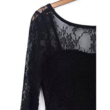 Trendy Black Hollow Out Long Sleeve Backless Bodycon Lace Dress For Women - L L