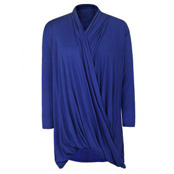 Simple Style Solid Color Cowl Neck 3/4 Sleeve Pleated Loose Blouse For Women