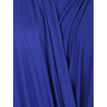 Simple Style Solid Color Cowl Neck 3/4 Sleeve Pleated Loose Blouse For Women - BLUE 3XL