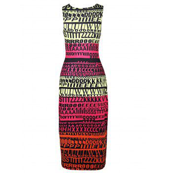 Stylish Sleeveless Round Neck Full Letter Print Women's Bodycon Sundress - COLORMIX COLORMIX