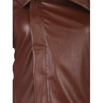 Stylish Long Sleeve Turn-Down Collar Faux Leather Asymmetrical Women's Jacket - BROWN S