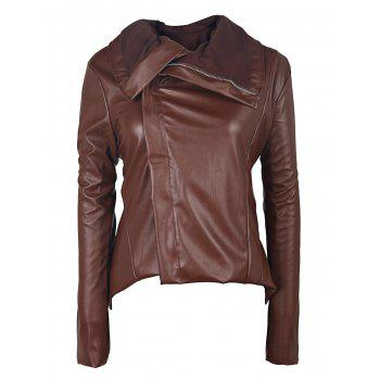 Stylish Long Sleeve Turn-Down Collar Faux Leather Asymmetrical Women's Jacket