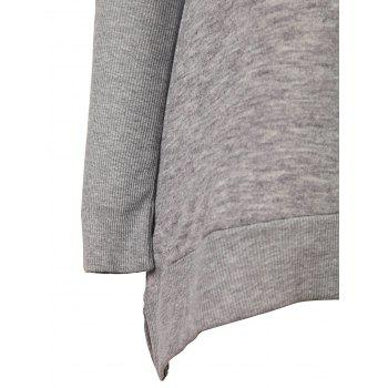 Stylish Long Sleeve Turtleneck Loose-Fitting Side Slit Women's Gray Sweater - XL XL