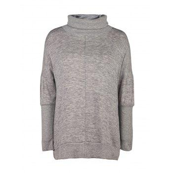 Stylish Long Sleeve Turtleneck Loose-Fitting Side Slit Women's Gray Sweater - GRAY XL