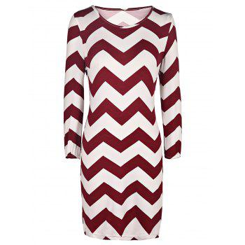 Chic Zig Zag Scoop Neck 3/4 Sleeve Dress For Women