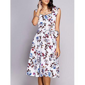 Vintage Women's Sweetheart Neck Bowknot Embellished Floral Dress