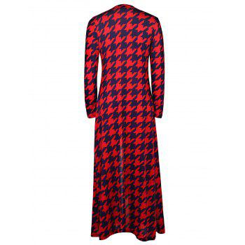 Alluring Plunging Neck 3/4 Sleeve High Slit Houndstooth Women's Dress - L L