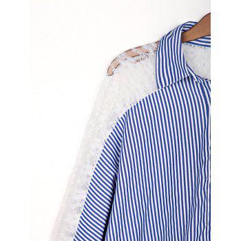 Stylish Shirt Collar 3/4 Sleeve Striped Hollow Out Women's Shirt - AS THE PICTURE AS THE PICTURE