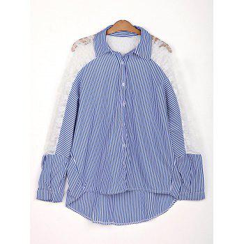 Stylish Shirt Collar 3/4 Sleeve Striped Hollow Out Women's Shirt