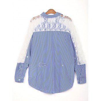 Stylish Shirt Collar 3/4 Sleeve Striped Hollow Out Women's Shirt - AS THE PICTURE 2XL