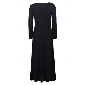 Sexy Black Plunging Neck High Slit Long Sleeve Dress For Women - S S