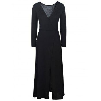 Sexy Black Plunging Neck High Slit Long Sleeve Dress For Women - BLACK S