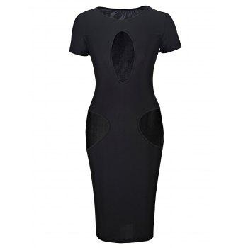 Novelty Black Jewel Neck Breast and Waist Hollow Out Bodycon Dress For Women - BLACK BLACK