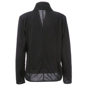 Trendy Color Block Shawl Collar Long Sleeve Blazer For Women - BLACK 2XL