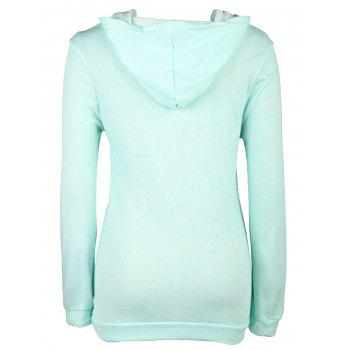 Stylish Long Sleeve Hooded Pocket and Button Design Women's Hoodie - GREEN XL