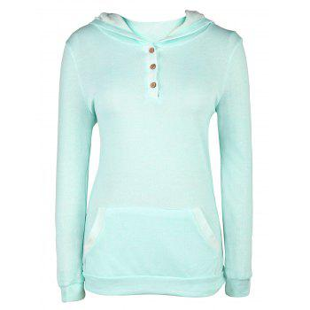 Stylish Long Sleeve Hooded Pocket and Button Design Women's Hoodie