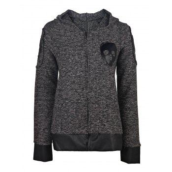 Faux Leather Spliced Skull Printed Zip Up Hoodie For Women