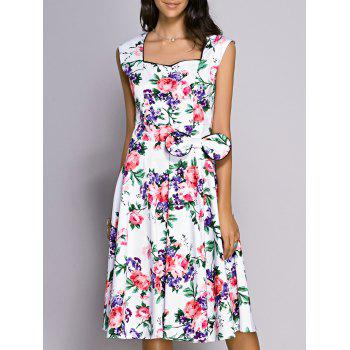 Retro Women's Flower Print Sweetheart Neck Bowknot Embellished Dress