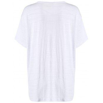 Letter Print Cut Out Longline T-Shirt - WHITE ONE SIZE(FIT SIZE XS TO M)
