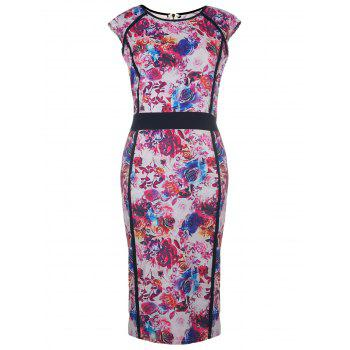 Chic Scoop Neck Sleeveless Plus Size Floral Print Women's Dress