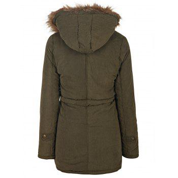 Preppy Style Faux Fur Hooded Drawstring Design Embroidered Fleece Coat For Women - ARMY GREEN S