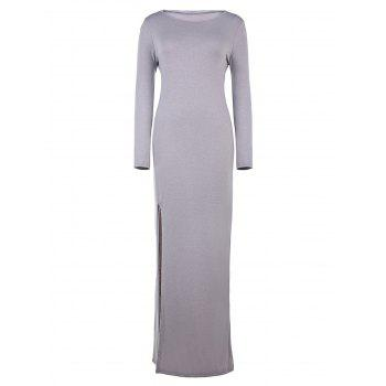 Sexy Long Sleeve Round Neck High Slit Gray Women's Maxi Dress
