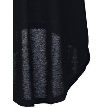 Charming Mid-Waisted Asymmetrical Solid Color Women's Skirt - BLACK BLACK