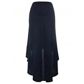 Charming Mid-Waisted Asymmetrical Solid Color Women's Skirt - BLACK S
