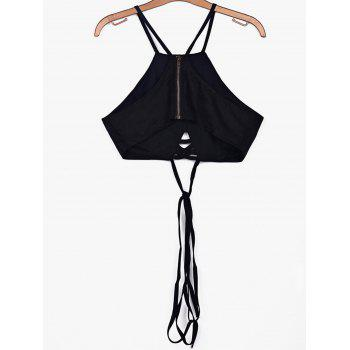 Alluring Spaghetti Strap Lace-Up Solid Color Women's Crop Top - L L