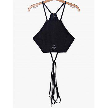 Alluring Spaghetti Strap Lace-Up Solid Color Women's Crop Top - BLACK L