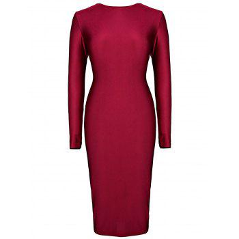 Long Sleeve Plunging Neck Bodycon Women's Dress
