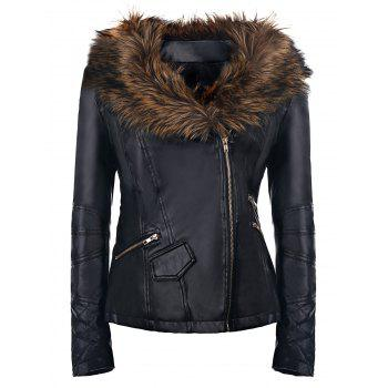 Faux Fur Long Sleeve PU Coat For Women