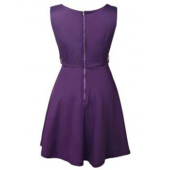 Graceful Sleeveless Round Collar Pure Color Women's Dress - XL XL