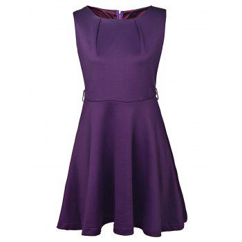 Graceful Sleeveless Round Collar Pure Color Women's Dress - PURPLE XL