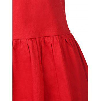 Vintage Style Sleeveless V-Neck Solid Color Women's Dress - RED S
