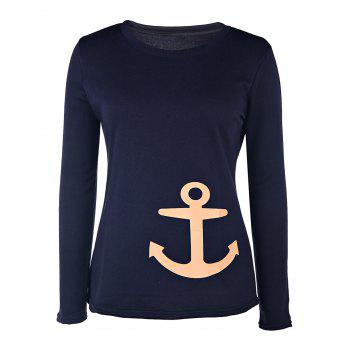 Sailor Style Anchor Printed Long Sleeve Pullover Sweatshirt For Women