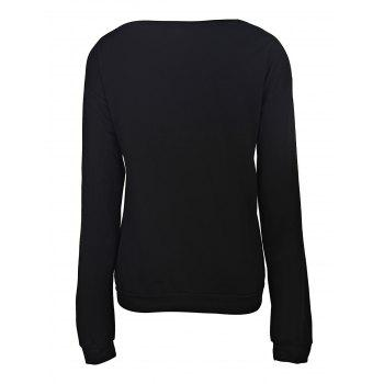 Attractive Lip Printed Color Block Pullover Sweatshirt For Women - BLACK S