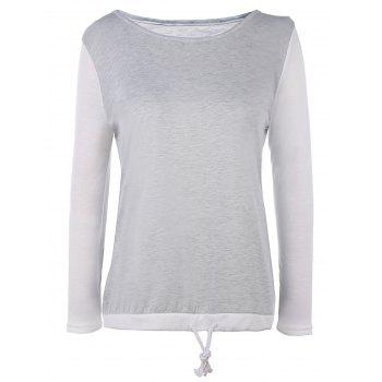 Stylish Scoop Neck Long Sleeve Drawstring Color Block Women's T-Shirt
